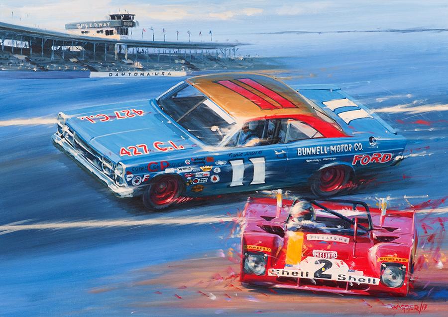Andretti's Daytona - Acryl auf Leinwand/Acrylic on canvas - Größe/size 90/65 cm - Auftrag/commission